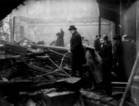 Winston and Clementine Churchill inspecting damage done by German bombs in the City of London, December 1940
