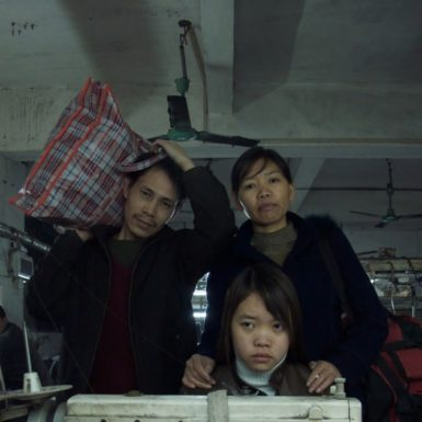 Zhang Changhua, Chen Suqin and their daughter Zhang Qin in Last Train Home