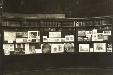 An exhibition on rare books assembled for a presentation in the Warburg Library Reading Room in Hamburg, April 1927