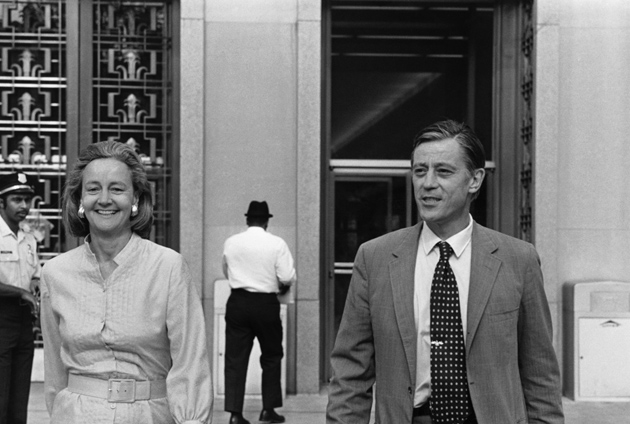 The Washington Post's Katharine Graham and Ben Bradlee leaving US District Court after winning a ruling in the Pentagon Papers case, 1971