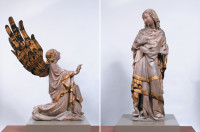 Marco Romano's early-fourteenth-century sculptures of the angel Gabriel (28 inches high) and the Virgin Mary (43 3/4 inches high), from the Basilica of San Marco in Venice. This illustration of the two figures is the first unified photographic image ever seen.'