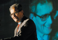 Amartya Sen giving the keynote address at the fifth annual Global Development Network conference, New Delhi, India, January 2004