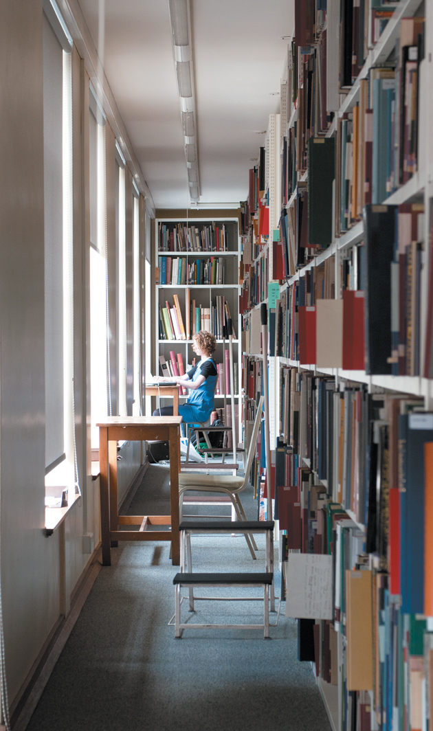 """The first floor of the Warburg Institute, where, Anthony Grafton and Jeffrey Hamburger write, 'any sustained trip into the...stacks will bring the reader not only to the books he or she is looking for, but also to their unexpected """"good neighbours""""'"""