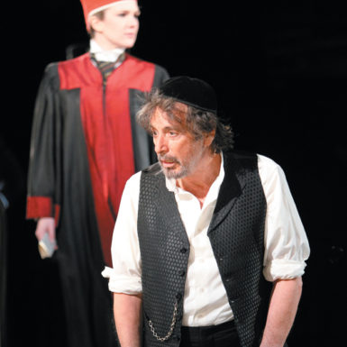 Al Pacino as Shylock and Lily Rabe as Portia in the Shakespeare in the Park production of The Merchant of Venice, New York City, 2010