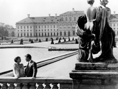 Delphine Seyrig and Giorgio Albertazzi in Last Year at Marienbad, directed by Alain Resnais and with a screenplay by Alain Robbe-Grillet, 1961