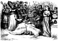 An 1870 cartoon by Thomas Nast about the alleged Catholic threat to the Republic's separation of church and state