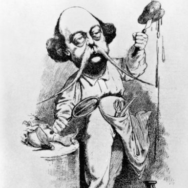 'Gustave Flaubert dissecting Madame Bovary'; cartoon by Achille Lemot, 1869