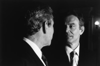 George W. Bush and Tony Blair after a joint press conference in the early days of the Iraq war, April 8, 2003
