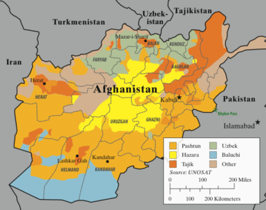 An approximate map, based on UNOSAT data, of Afghanistan's major ethnolinguistic groups; striations indicate mixed areas