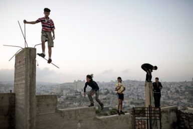 Boys playing on a hill overlooking Bethlehem, 2007