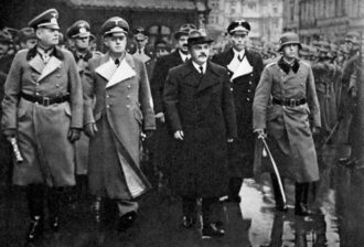 Soviet Foreign Minister Vyacheslav Molotov, center, arriving in Berlin to meet with Adolf Hitler, November 12, 1940. At front left are German Field Marshal Wilhelm Keitel and Foreign Minister Joachim von Ribbentrop.