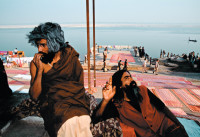 Ascetics, or sadhus, at Varanasi Ghat, India, 2001; photographs by Raghu Rai