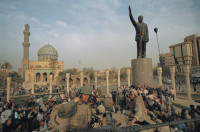 US Marines pulling down the statue of Saddam Hussein in Firdos Square, Baghdad, April 9, 2003