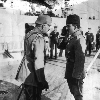 Kaiser Wilhelm II and Enver Pasha on board the battle cruiser Goeben, Constantinople, October 1917