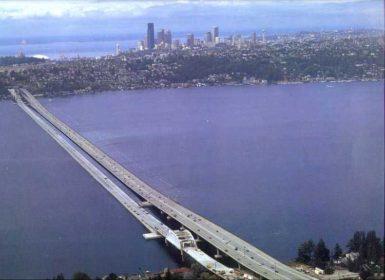 The Interstate 90 bridge across Lake Washington, 1993