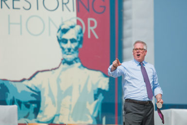 Glenn Beck on the steps of the Lincoln Memorial at his 'Restoring Honor' rally, Washington, D.C., August 28, 2010