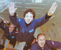 Google cofounder Sergey Brin, center, training in zero gravity for a future vacation in space, 2008