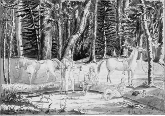 'Travelers with an Indian guide in the Saginaw Forest'; drawing by Gustave de Beaumont from his trip to North America with Alexis de Tocqueville, 1831
