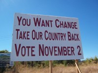 A sign put up by the Solano Tea Party Patriots, Solano County, CA