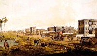 Thomas Daniell: Houses on the Chowringhee Road, looking north, Calcutta, 1787
