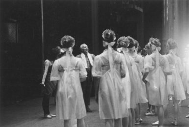 George Balanchine at a rehearsal of Scherzo à la russe for the New York City Ballet's Stravinsky Festival, Lincoln Center, 1982