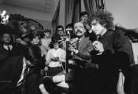 Bob Dylan at a press conference at the George V Hotel, Paris, 1966; photograph by Barry Feinstein from the exhibition 'Who Shot Rock & Roll: A Photographic History, 1955 to the Present,' which opened at the Brooklyn Museum last year and is on view at the Akron Art Museum through January 23, 2011. The curator, Gail Buckland, quotes Feinstein in the catalog: 'In the morning we went to the flea market and Bob bought this puppet. Every time one of the journalists asked him a question, he put his ear to the puppet's mouth and pretended to listen to the answer. Then he would tell the press. It drove them nuts. They didn't understand him.'