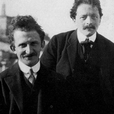 Béla Balázs, right, with György Lukács, Italy, early 1910s