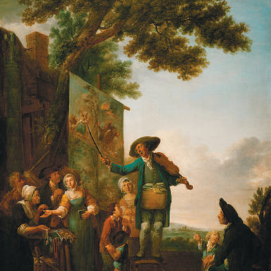 An itinerant singer performing while his companion sells trinkets and ballad booklets; painting by Louis Joseph Watteau, 1785