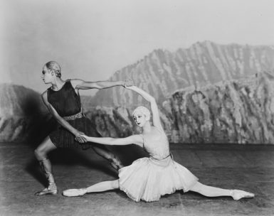 Serge Lifar as Apollo and Alexandra Danilova as Terpsichore in Igor Stravinsky and George Balanchine's Apollon musagète, 1928; photograph by Sasha. Arlene Croce writes that this ballet, 