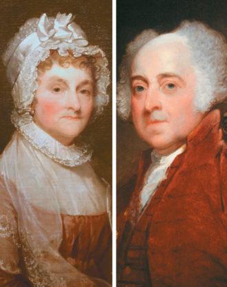 Abigail and John Adams; portraits by Gilbert Stuart, 1800/1815 and circa 1821