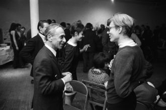 Leo Castelli and Andy Warhol at Robert Rauschenberg's studio, New York City, 1965
