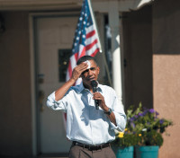 President Barack Obama speaking with local residents in Albuquerque, New Mexico, about the need for education to ensure long-term economic prosperity, September 28, 2010