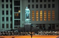 Riot policemen standing guard around a government building during an opposition rally in Independence Square, Minsk, December 20, 2010