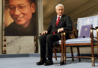Chairman of the Nobel Committee Thorbjørn Jagland looking down at the empty chair reserved for Nobel Laureate Liu Xiaobo, on which Jagland placed the Nobel Peace Prize diploma and gold medal, Oslo, December 10, 2010