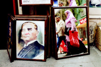 A portrait of Atatürk in the Cağaloğlu neighborhood of Istanbul; photograph by Andreas Herzau from his book Istanbul, which collects his images of the city and includes an essay by Elif Shafak. It has just been published by Hatje Cantz.