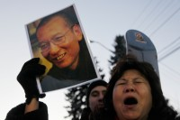 A protester for the freedom of Nobel peace laureate Liu Xiaobo outside the Chinese Embassy in Oslo, Norway, December 9, 2010