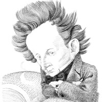 Giacomo Leopardi; drawing by Tullio Pericoli