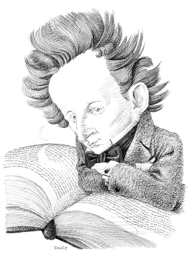 Giacomo Leopardi; drawing by Tullio Pericoli