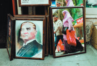 A portrait of Atatürk in the Cagaloglu neighborhood of Istanbul; photograph by Andreas Herzau from his book Istanbul, which collects his images of the city and includes an essay by Elif Shafak. It has just been published by Hatje Cantz.