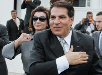 Recently deposed Tunisian President Zine el-Abidine Ben Ali and his wife, Leila, greeting supporters in an affluent Carthage neighborhood near the capital, Tunis, October 2009