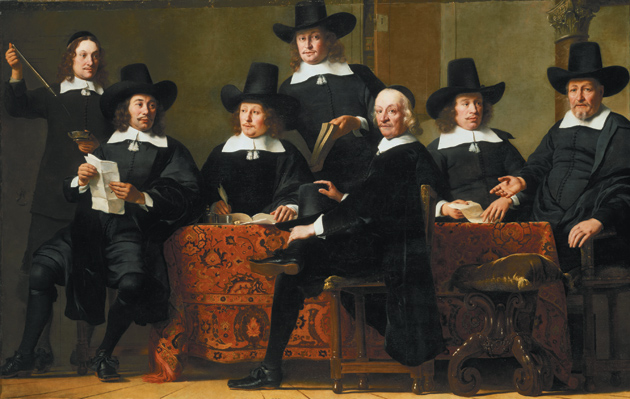 Ferdinand Bol: The Officers of the Guild of Wine Merchants, 76 inches x 120 inches, circa 1659
