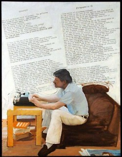 Larry Rivers: <i>Pyrography: Poem and Portrait of John Ashbery II</i>, 76 x 58 inches, 1977