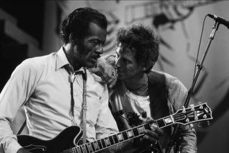 Chuck Berry with Keith Richards of the Rolling Stones in Saint Louis during 