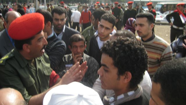 Soldier and protesters, Cairo, February 22.jpg