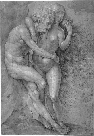 One of Jan Gossart's drawings of Adam and Eve, from Chatsworth, 13 11/16 x 9 7/16 inches, circa 1520