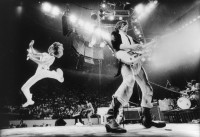 The Rolling Stones, with Mick Jagger at front left and Keith Richards at front right, performing in Philadelphia, 1975