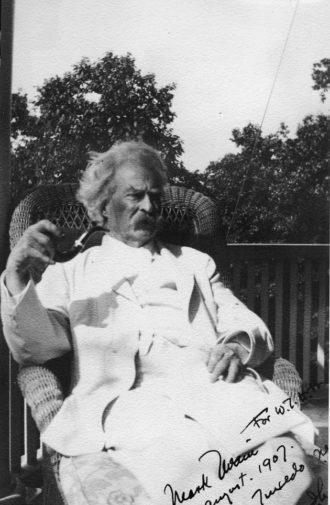 Mark Twain, Tuxedo, New York, 1907; photograph by Isabel Lyon from 'Mark Twain: A Skeptic's Progress,' a recent exhibition at the Morgan Library and Museum. The catalog is published by the New York Public Library.