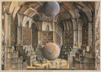Érik Desmazières: <i>La Salle des planètes</i>, from his series of illustrations for Jorge Luis Borges's story 'The Library of Babel,' 1997–2001. A new volume of Desmazières's catalogue raisonné will be published by the Fitch-Febvrel Gallery later this year. Illustration © 2011 Artists Rights Society (ARS), New York/ADAGP, Paris.