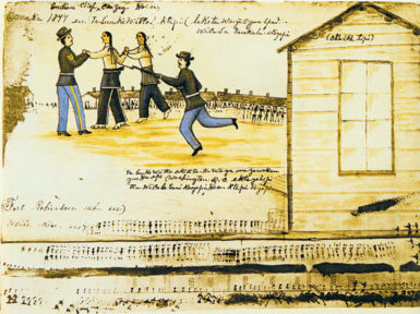 Crazy Horse's last moments, recorded by the Oglala artist Amos Bad Heart Bull. According to Thomas Powers in The Killing of Crazy Horse, 'One fact was remembered with special clarity by almost every witness—Little Big Man's effort to hold Crazy Horse as he struggled to escape, shown here in Bad Heart Bull's drawing.'