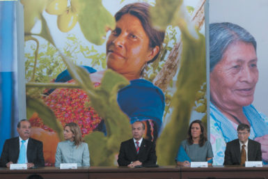 Bill and Melinda Gates, right, with Mexican billionaire Carlos Slim, Princess Cristina of Spain, and Mexican President Felipe Calderón at the announcement in Mexico City of the 2015 Meso-American Health Initiative, which aims to reduce malaria and other health problems in Mexico and Central America, June 2010